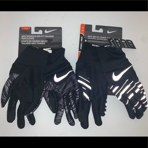 🔐 LOT OF 2 PAIR NIKE RUNNING TEMPO 360 GLOVES